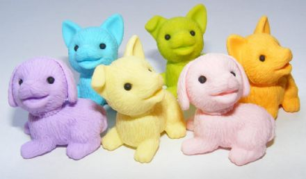 IWAKO NOVELTY ERASERS/RUBBERS - LILAC PUPPY